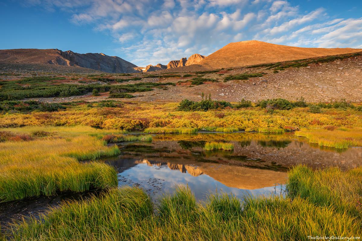 Longs Peak,Mount Meeker,Tarn,Fall,Autumn,Longs Peak Trailhead,Landscape,Photography,Rocky Mountain National Park,RMNP,Estes Park,14,259ft,14er,Sunrise,Reflection,September,tundra,treeline , photo