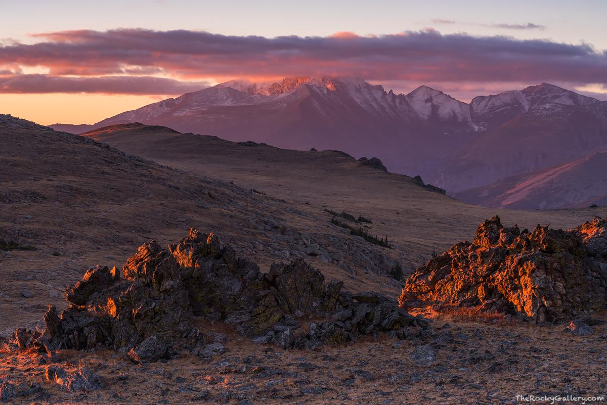 Ute Trail,Alpine Tundra,Timberline,Trail Ridge Road,Estes Park,Longs Peak,Pagoda Peak,Chiefs Head Peak,Sunrise,Landscape,Photography,Rocky Mountain National Park,Colorado,RMNP,October,fall,winter,summ, photo