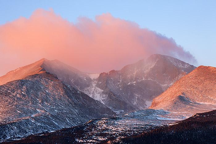 Longs Peak,Mount Meeker,winter,Rocky Mountain National Park,Colorado,sunrise , photo