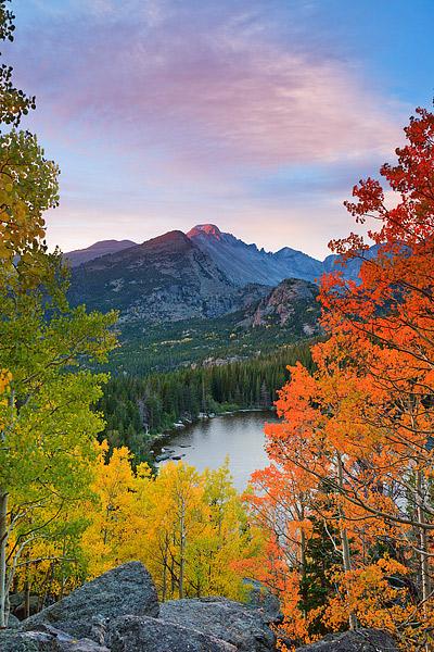Bear Lake,Rocky Mountain National Park,Longs Peak,Fall Aspens,Colorado,gold, photo