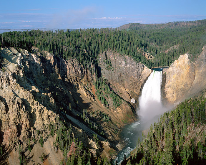 The Yellowstone River is seen plunging down the Lower Falls. The Grand Canyon of the Yellowstone is one of Yellowstone National...