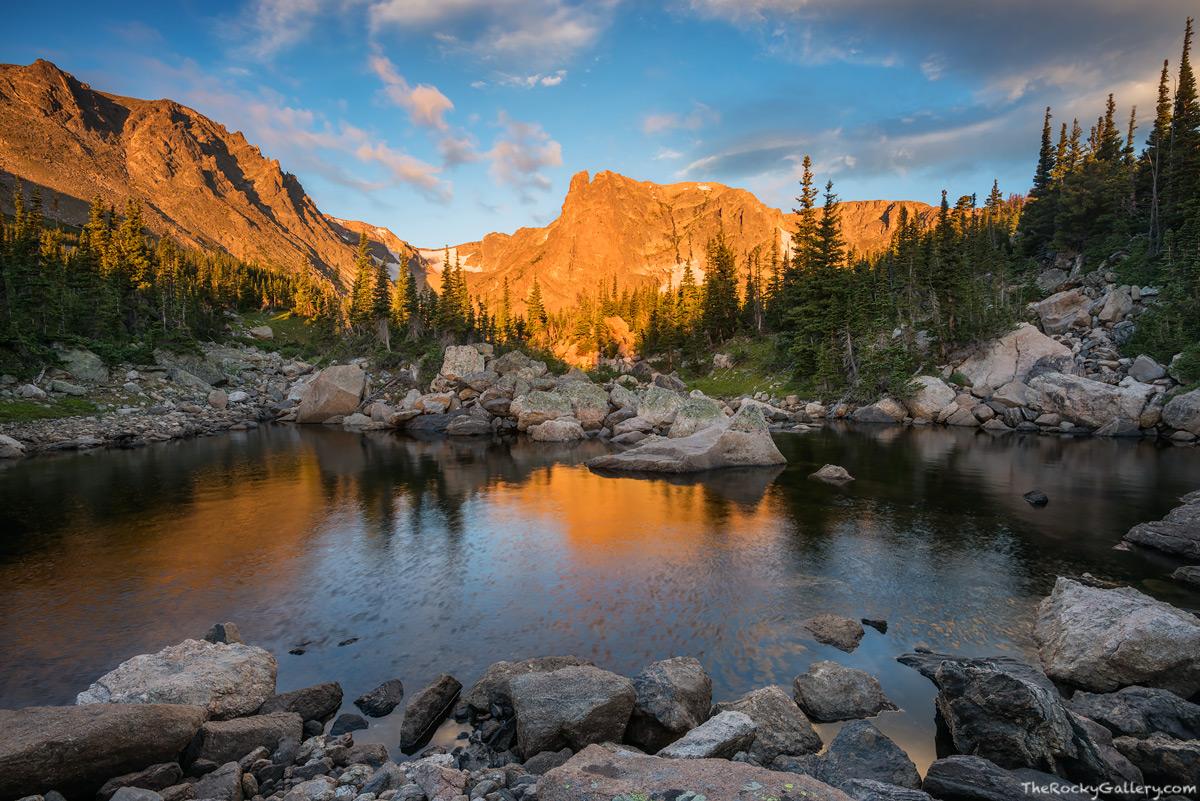 Flattop Mountain,Notchtop Mountain,Marigold Ponds,RMNP,Rocky Mountain National Park,Colorado,Estes Park,Bear Lake Trailhead,Landscape,Photography,Sunrise,Reflections, photo