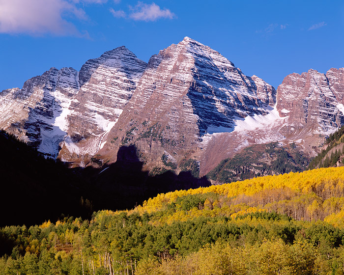 Maroon Bells, Aspen, Fall Color, White River, National Forest, Large Format, photo