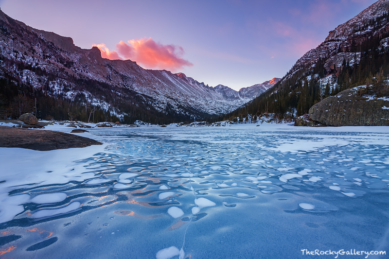 Mills Lake,Glacier Gorge,Enos Mills,Longs Peak,Rocky Mountain National Park,Sunrise,Colorado,RMNP,Estes Park,Trailhead,Bear Lake Road,Landscape,Photography,February, Ice , photo