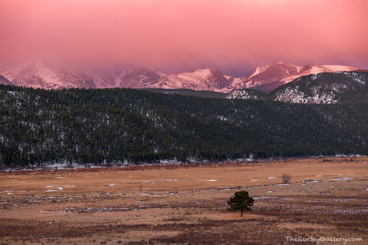Rocky Mountain National Park,Bear Lake Road,Moraine Park,Colorado,March,RMNP,Estes Park,Landscape,Photography,Sunrise,Big Thomspon River,Spring,Thatchtop Mountain,Taylor Peak,Otis Peak,Hallett Peak,Fl, photo