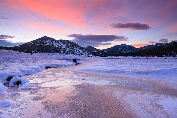 Rocky Mountain National Park,Moraine Park,Big Thompson,Colorado,Winter,Spring,Snow,Sunrise, photo