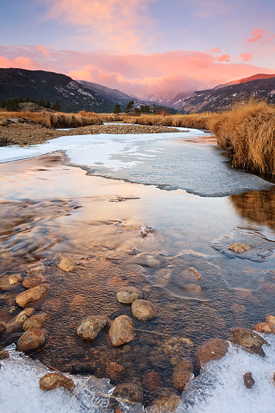 Moraine Park,Big Thompson River,snow,winter,Autumn,Colorado,Rocky Mountain National Park, photo