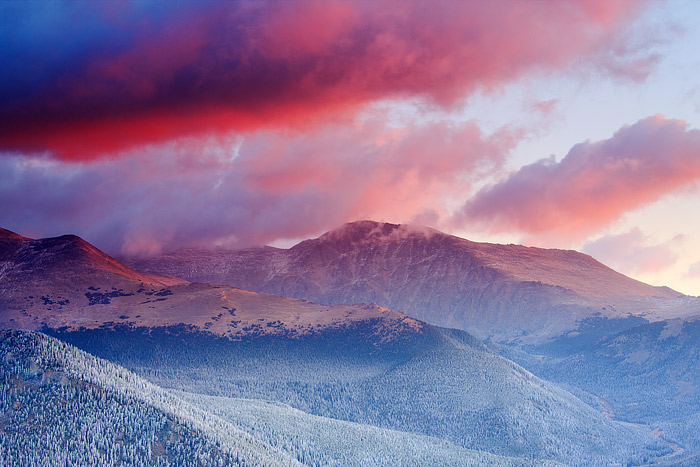 Mummy Mountain,Mummy Range,snow,sunrise,Rocky Mountain National Park,Colorado,storm, photo