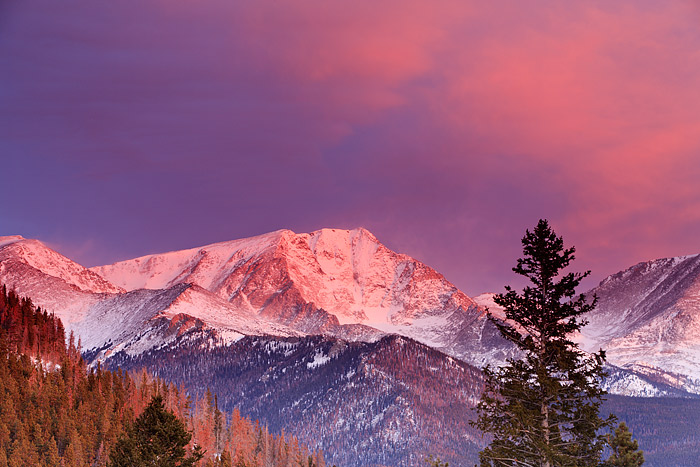 A brilliant sunrise unfolds over Mt. Yipsilon and the Mummy Range of Rocky Mountain National Park. Winter brings some of the...