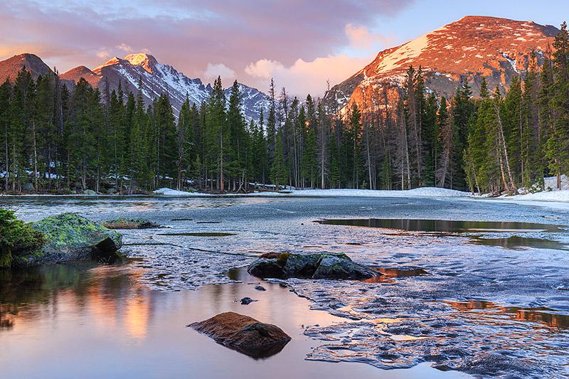 Rocky Mountain National Park, Colorado,Estes Park,RMNP,Nymph Lake,Bear Lake,Dream Lake,Longs Peak,Otis Peak,Ice,Frozen,Thaw,Reflections, photo