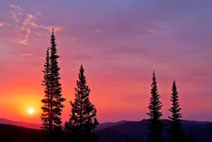 Nymph Lake, Bear Lake, Spruce, Trees, Rocky Mountain National Park, Colorado, Sunrise,Reds,wildfire,Mountains, photo