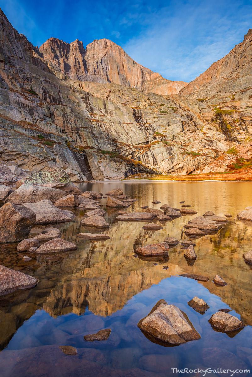 Peacock Pool,The Diamond,Longs Peak,14,259ft,Reflection,Longs Peak Trailhead,Chasm Lake,RMNP,Colorado,Fourteener,Rocky Mountain National Park,Colorado,Landscape,Photography,September,Sunrise, photo