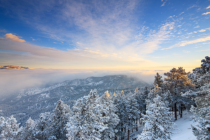 Flagstaff Mountain,Boulder,Colorado,Open Space,Winter,Sunrise,Snow,clouds,plains,inversion, photo