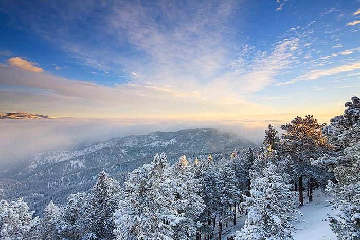 Flagstaff Mountain,Boulder,Colorado,Open Space,Winter,Sunrise,Snow,clouds,plains,inversion, photo