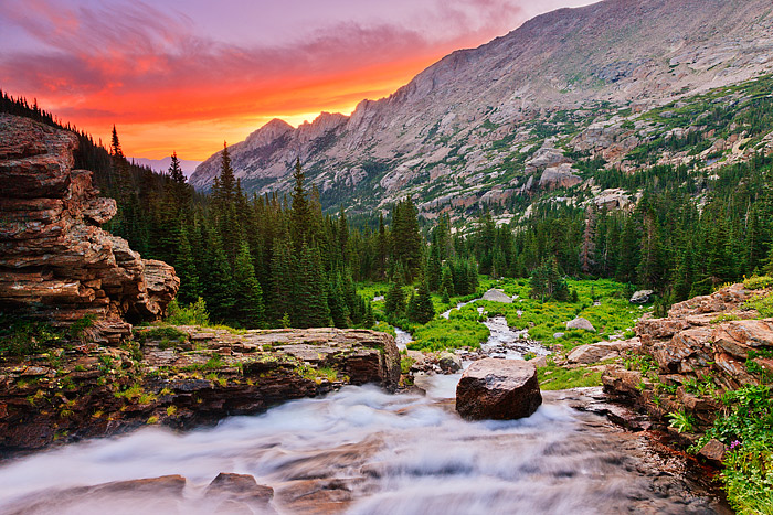 Rocky Mountain National Park, Ribbon Falls, Glacier Gorge,Colorado,sunrise,McHenry,Arrowhead,Black Lake, photo