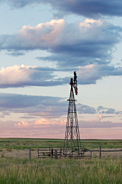 Colorado, High Plains, Weld County, Windmill, Cistern, Sunrise, photo