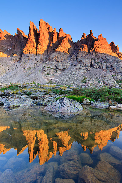Cathedral Spires,Sharkstooth,Petit Grepon,Sky Pond,Loch Vale,Rocky Mountain National Park,Colorado,summer,reflection,climbers, photo
