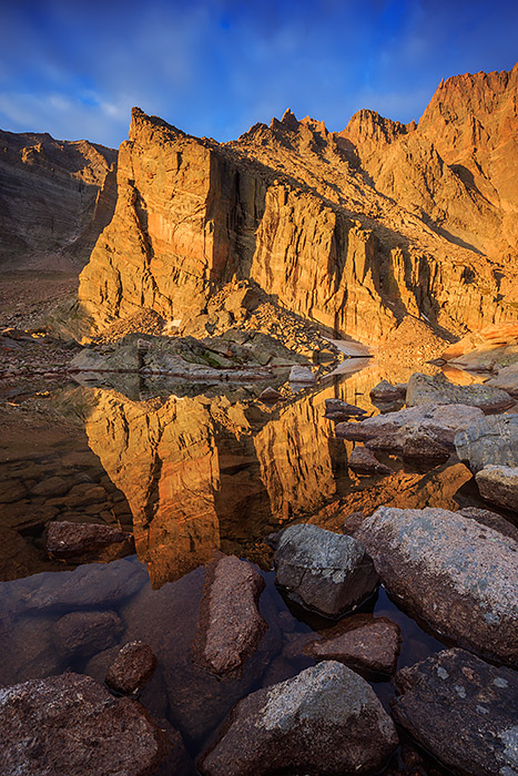 Longs Peak,Ships Prow,Chasm Lake,Rocky Mountain National Park,Colorado,Reflection,morning,Rocky,Estes Park, photo