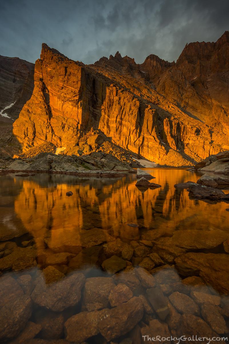 Ships Prow,Chasm Lake,Longs Peak,RMNP,Longs Peak Trailhead,Estes Park,Rocky Mountain National Park,Colorado,August,Climbing,Stormy,Sunrise,Landscape,Photography,Reflection , photo