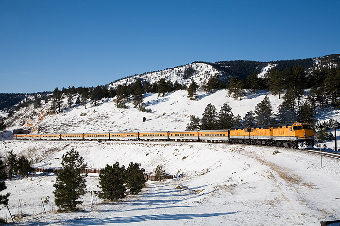 Ski Train climbing the grade out of Denver near Plainview, Colorado.