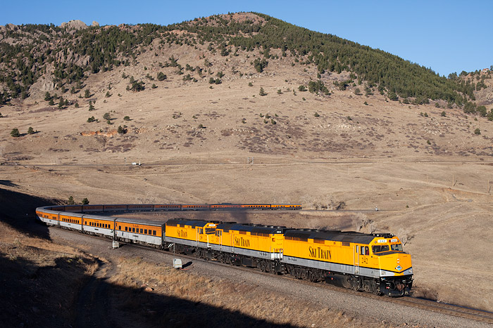 The Ski Train is viewed climing 'Little Ten' curve 20 miles west of Denver, Colorado. In a moment the Ski Train will start in...