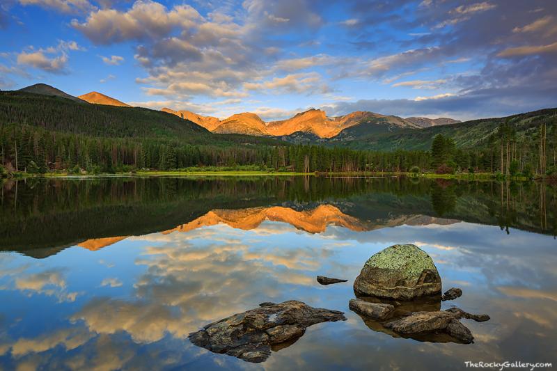 Sprague Lake,Abner Sprague,Sunrise,Hallett,Thatchtop,Flattop,Otis,Rocky Mountain National Park,Colorado,iconic,estes park,bear lake road,landscape,photography,reflection,RMNP, photo