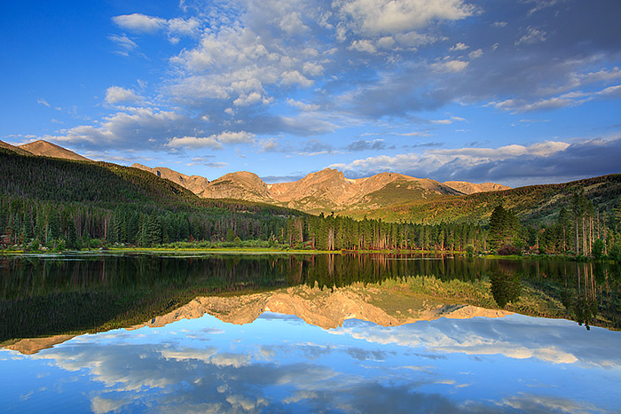 A completely placid and tranquil morning results in a mirror like reflection in the calm and peaceful waters of Sprague Lake....