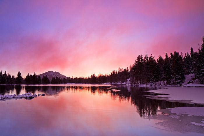 Rocky Mountain National Park, Colorado, Sprague Lake, Spring, Thaw, Snow, photo