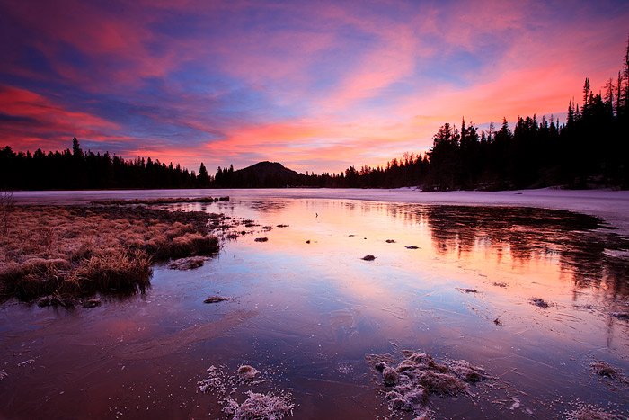 Rocky Mountain National Park, Colorado, Sprague Lake, Sunrise, Winter, photo