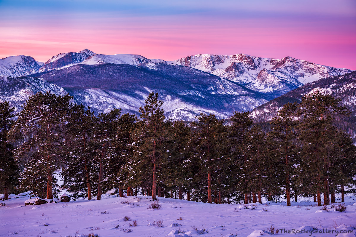 January,Winter,Glow,Sunrise,Continental Divide,Flattop Mountain,Hallett Peak,Gabletop,Little Matterhorn,Notchtop Mountain,Colorado,RMNP,Estes Park,Rocky Mountain National Park,Landscape,Photography, photo