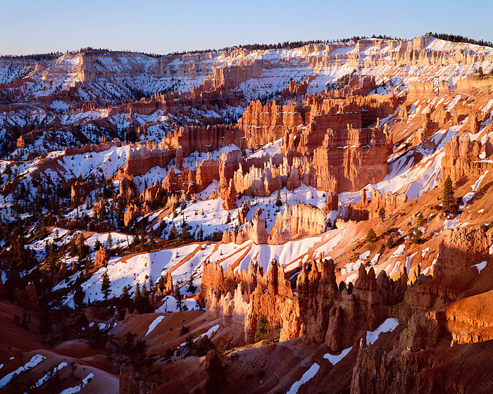 The hoodoos of Bryce Canyon National Park glow in the warn late afternoon sunset. Ironically Sunrise point is one of the better...