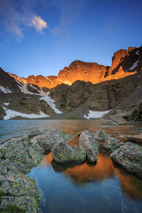 Rocky Mountain National Park,Sky Pond,Colorado,Sunrise,Cathederal spires,Lake of Glass,Loch Vale,Taylor Peak,reflections, photo