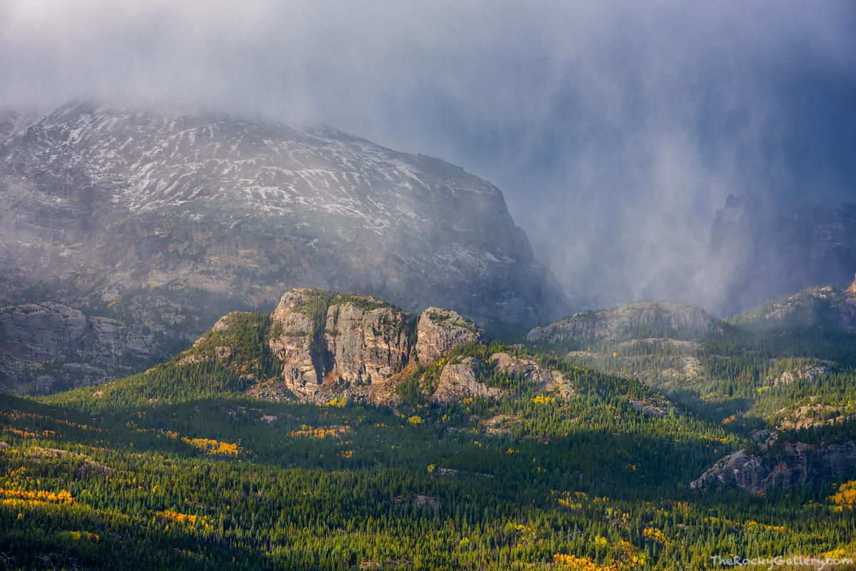 Thatchtop Mountain,Glacier Knobs,Glacier Gorge,Trailhead,Bear Lake Road,sunrise,Autumn,Fall,Squalls,Snow,Weather,RMNP,Colorado,Rocky Mountain National Park,Landscape,Photography,September,Bierstadt Mo, photo
