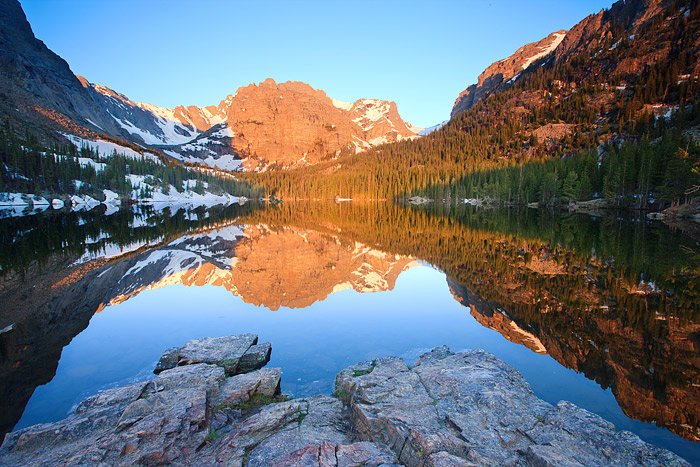 Rocky Mountain National Park, Colorado, The Loch, Loch Vale, Cathedral Wall, Sunrise, photo
