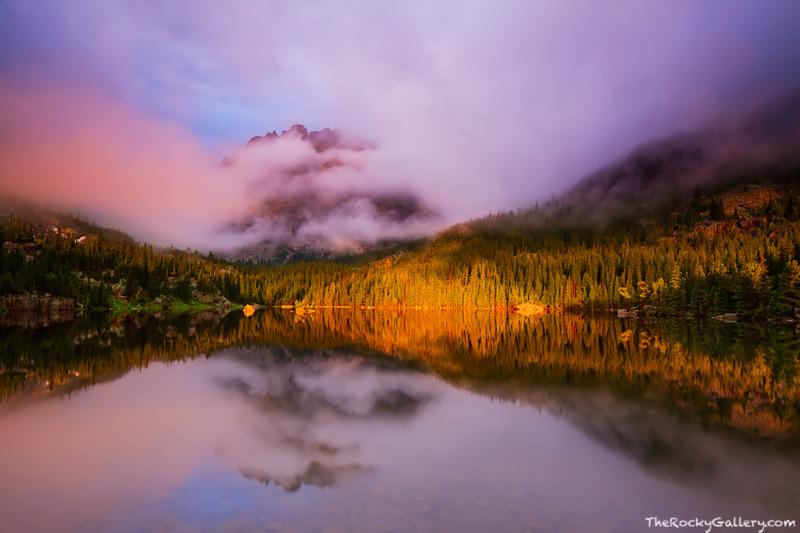 Loch Vale, The Loch, Cathederal Wall, Rocky Mountain National Park, Colorado,fog,light,Glacier Gorge,Bear Lake Road,Trailhead,Landscape,Photography,RMNP,Estes Park,Reflection, photo