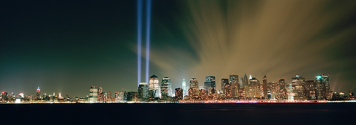 Tribute in Light from Liberty State Park, New Jersey