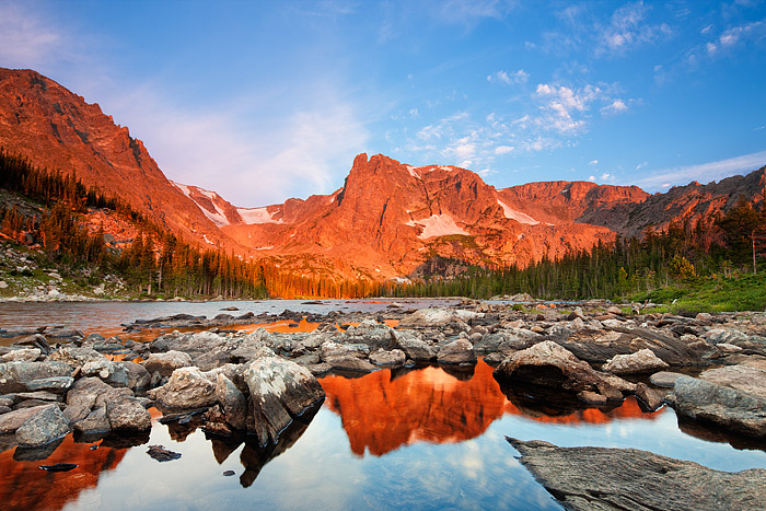 Rocky Mountain National Park, Colorado,Two Rivers Lake,Notchtop Mountain,Flattop Mountain,sunrise,morning,clouds, photo