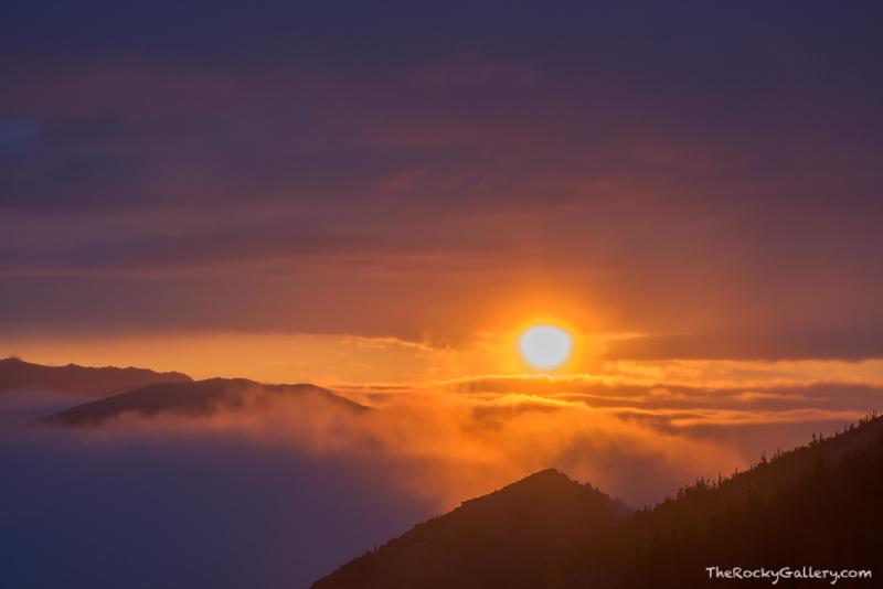 Ute Trail,Sunrise,Trail Ridge Road,Estes Park,Grand Lake,Rocky Mountain National Park,Colorado,RMNP,Inversion,Dramatic,Landscape,Photography,Fog,Sun,Clouds, photo