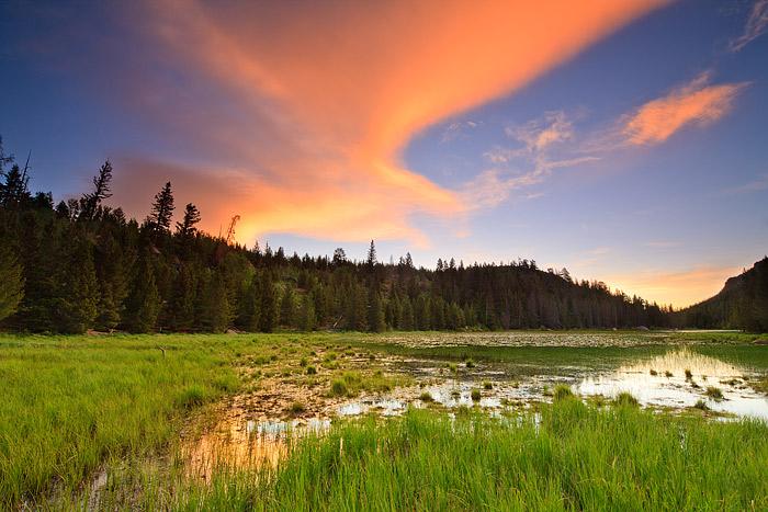 Rocky Mountain National Park,Colorado,Cub Lake,Moraine Park,Sunrise,Stones Peak,Clouds, photo