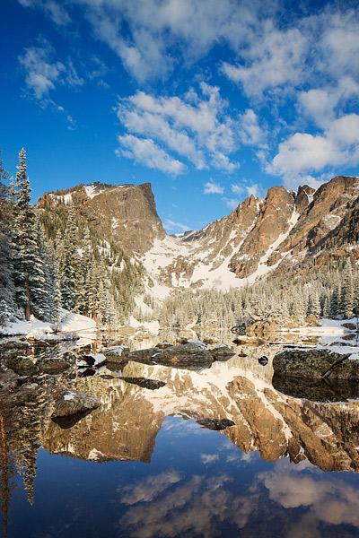 Rocky Mountain National Park, Dream Lake, Reflection, Colorado, Hallet Peak, Flattop Mountain, Snow, photo