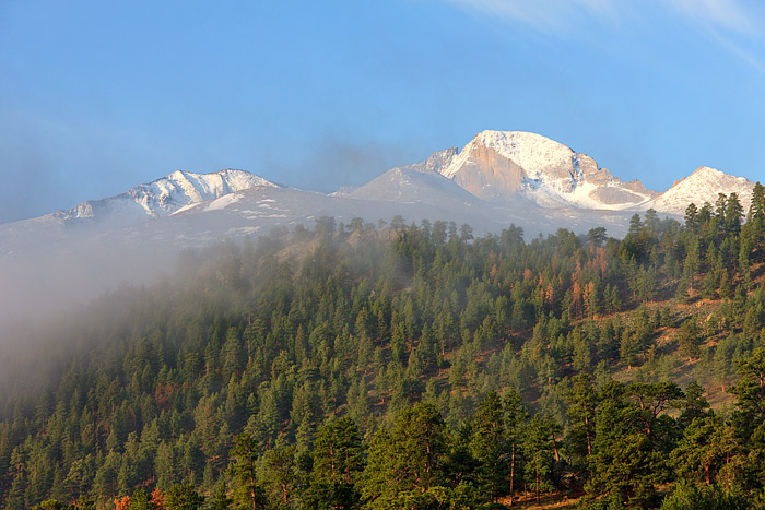 Longs Peak,The Diamond,Fog,Lower Beaver Meadows,Rocky Mountain National Park,Colorado,Spring, photo