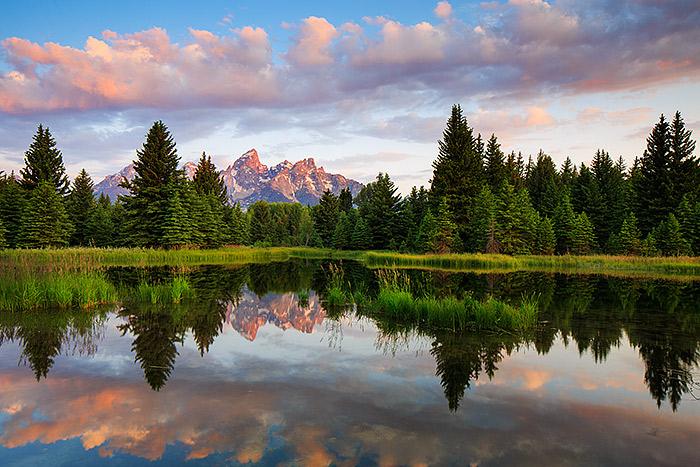 Wyoming,Schwabacher Landing,Sunrise,Grand Teton National Park,red,post card,perfect,sunrise,clouds , photo